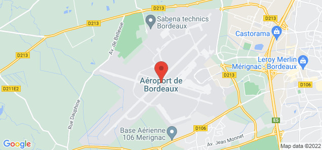 Map of Bordeaux Merignac Airport