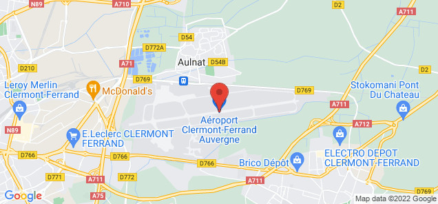 Map of Clermont-Ferrand Auvergne Airport