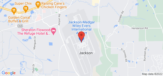 Map of Jackson-Evers International Airport