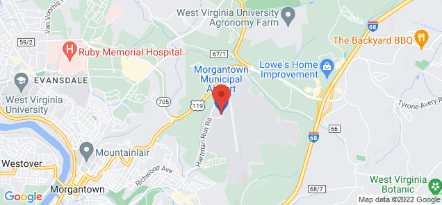 Map of Morgantown Municipal Airport