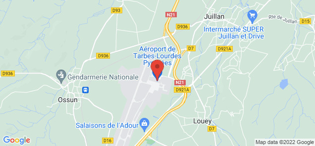 Map of Tarbes Lourdes Pyrenees Airport