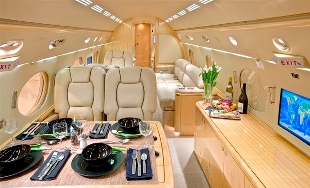Interior of Phil Mickelson's Private Jet