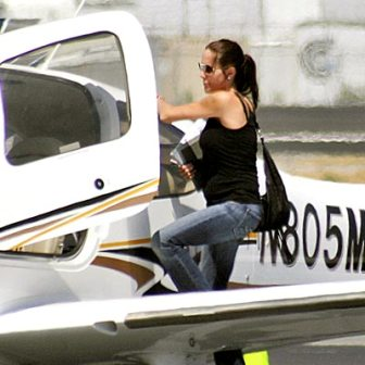 Angelina Jolie Getting in Airplane