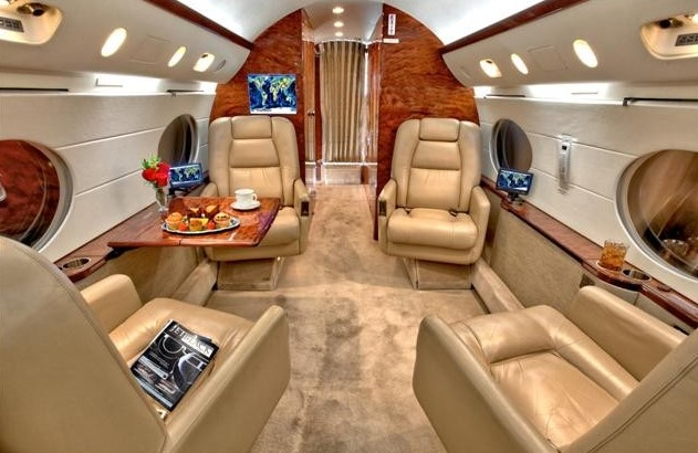 Interior of Dan Bilzerian's G IV Private Jet