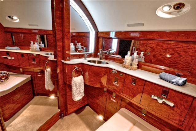 Bathroom of Gulfstream IV Private Jet Owned by Dan Bilzerian